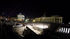 4K timelapse Kyiv, Ukraine, 05.08.2015. Reconstruction of the Poshtova plosh Stock Footage