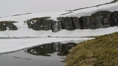 A reflection of waterfall in frozen lake on Aurlandsfjellet Stock Footage