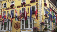 Traditional Irish Pub in the Temple Bar district of Dublin, Ireland - stock footage