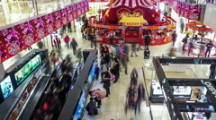 The customers in shopping mall of Xizhimen area during festival, Beijing, China. Stock Footage