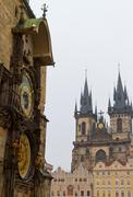 Church of Our Lady before Tyn and Astronomical Clock, Prague, Czech Republic Stock Photos