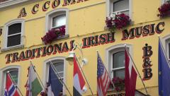 Zoom out, traditional Irish Pub, Temple Bar district, Dublin, Ireland - stock footage