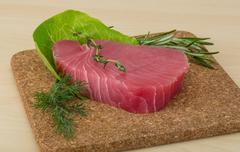 Raw tuna steak - stock photo