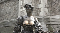 Molly Malone statue, Temple Bar district of Dublin, Ireland Stock Footage