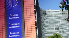 ULTRA HD 4K real time shot,The Berlaymont building in Brussels Stock Footage