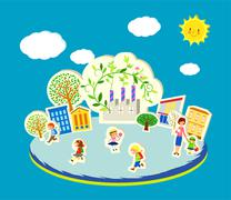 A vector illustration of cute children going to school Stock Illustration