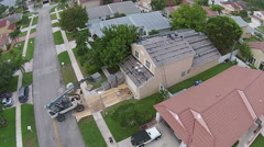 Roof repair seen from above Stock Footage