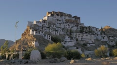 Thiksey monastary on hilltop in late afternoon,Thiksey,Ladakh,India Stock Footage