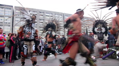 Prehispanic dancers doing a performance in Tlatelolco square. Stock Footage