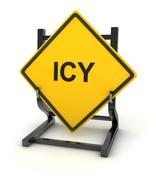 Road sign - icy - stock illustration
