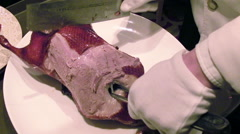 Stock Video Footage of Cutting of Peking Roast Duck