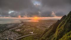 Time lapse dawn, view of sunrise koolau ko'olau mountain ridge, oahu, hawaii Stock Footage