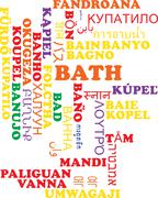 Bath multilanguage wordcloud background concept Stock Illustration