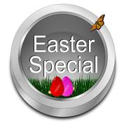 Button Easter Special with easter eggs - stock photo