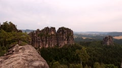 Stock Video Footage of Summer morning in attractive nature rock empire park Saxony Switzerland.
