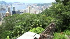 Hong Kong Venerable Peak Tram and city skyline. Stock Footage