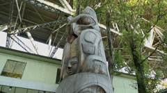 Granville Island, Vancouver Totem Pole dolly shot - stock footage