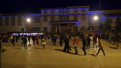 People Dancing In The Town Square Of Shangri-La China Stock Footage
