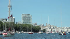 Idle schooners in the Toronto Harbor - stock footage