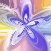 Abstract pastel colored bloom shape in violet and yellow - stock illustration