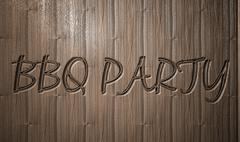 BBQ PARTY relief text on wooden background Stock Illustration