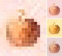 Pastel colored apples mosaic background - stock illustration