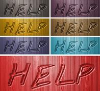 Relief HELP words on wooden background Stock Illustration