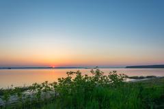 Dawn on the Volga. - stock photo