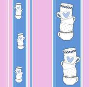 Vertical stripey pattern with stack of towering cups Stock Illustration