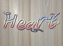 Relief HEART text on wooden background - stock illustration