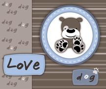 Stock Illustration of Love dog card in scrapbook style