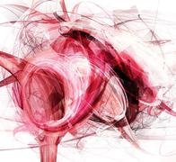 Stock Illustration of Random curvy form in red, grunge style