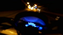 Drunk Driver Riding Motorcycle on Road at Night. Speedometer. Time Lapse Stock Footage
