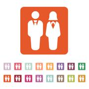 The man and woman icon. Partners And Human symbol. Flat - stock illustration