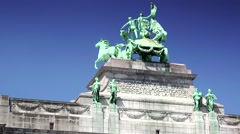 ULTRA HD 4K real time shot,The Triumphal Arch in Cinquantenaire Parc in Brussels Stock Footage