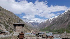 TIMELAPSE Clouds over Chitkul village with tower,Chitkul,Kinnaur,India Stock Footage