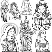 Virgin Mary Set Stock Illustration
