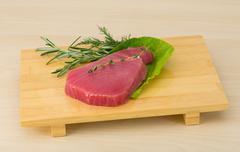 Raw tuna steak Stock Photos