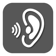 The ear icon. Sense organ and hear, understand symbol. Flat Stock Illustration