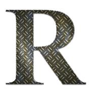 Metal alphabet symbol - R - stock illustration