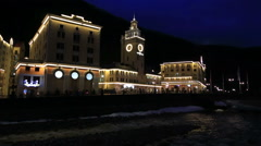 Night view of Rosa Valley in Rosa Khutor Alpine Resort Stock Footage