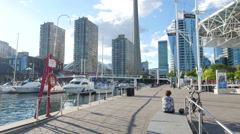 Toronto Downtown Waterfront Tower Tilt Up Stock Footage
