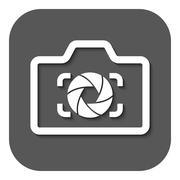 The camera icon. Photo and diaphragm, photographer, photographic symbol. Flat - stock illustration