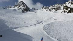 Panorama peaks of Caucasus Mountains in the Rosa Khutor alpine ski resort Stock Footage