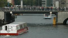 Traffic on and under Mühlendamm bridge, Berlin Stock Footage