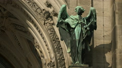 Bronze statue at the door of Berlin Cathedral Stock Footage