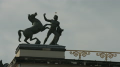 Equestrian statue on Altes Museum, Berlin Stock Footage