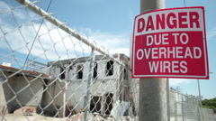 Danger Due to overhead wires - stock footage