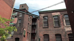 Old brick tenements of the city Stock Footage