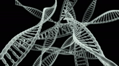 Journey through many DNA chains on a black background HD video Stock Footage
